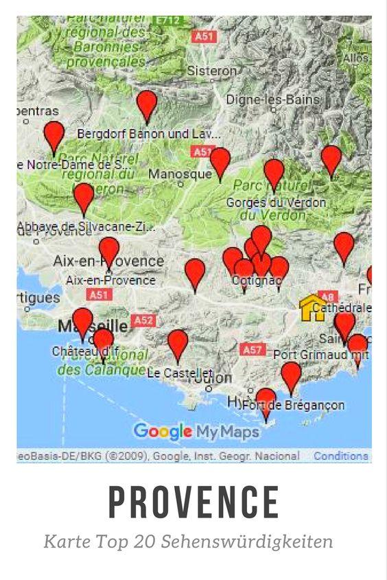 Karten mit Sehenswürdigkeiten der Provence  Wo liegt eigentlich die Provence?