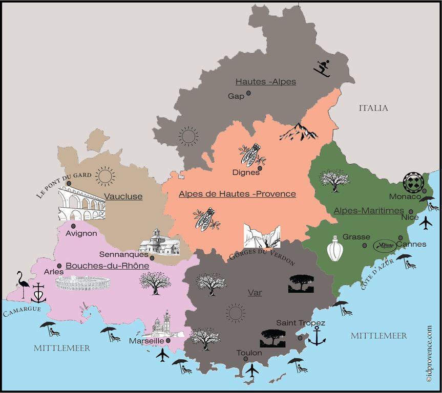 Provence Karte: Sie können diese Karte gern auf ihren Seiten einbinden, unter der Bedingung einen copyright vermerk mit link auf www.idprovence.com zu setzen.