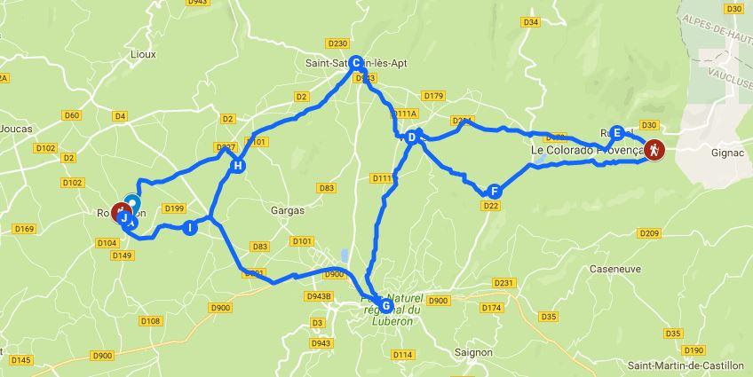 Radrundstrecke im Luberon / Frankreich an den Ockerfelsen bei Roussillion und Rustrel